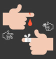 hurts finger with blood and bandage vector image