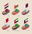 isometric ships with flags of gulf countries vector image vector image