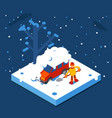 isometric winter man digs car out of snow vector image