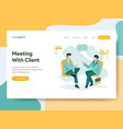 landing page template business meeting with vector image