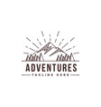 lineart mountain adventure landscape logo vector image
