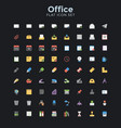 office flat icon set vector image