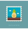 Pineapple flat stamp vector image vector image
