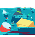 polluted water fishes dirty river with trash and vector image vector image