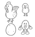 set chicken and egg vector image vector image