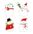 set of smoman party snowman happy cute snowmen vector image