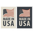 set of two postage stamps with american flag vector image vector image