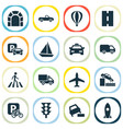 shipment icons set with soft verges taxi sail vector image
