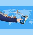 smartphone online booking with world landmark vector image vector image
