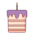 sweet birthday cake with candle vector image