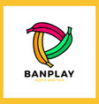 three bananas play media logotype vector image vector image