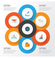 trade flat icons set collection of envelope vector image vector image