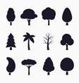 tree silhouette icons set vector image vector image