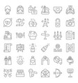 valentine wedding and honeymoon icon set thin vector image
