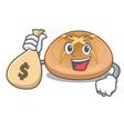 with money bag hot cross buns on cutting cartoon vector image vector image