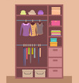 wooden wardrobe with bright clothes and warm hats vector image