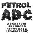 Petrol ABC Oil font Black letters Liquid lettring vector image