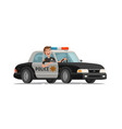 happy policeman goes on police car with flashing vector image