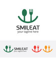 smile eat logo happy food vector image