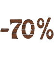 70 Wood percentage icon - isolated on the white vector image vector image