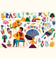 amazing collection with brazilian symbols vector image vector image