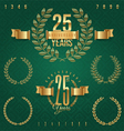 Anniversary golden emblems and decorative elements vector image vector image