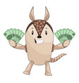 armadillo holding money on white background vector image vector image