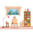 art studio interior colorful vector image vector image