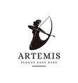 artemis goddess logo icon vector image