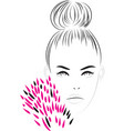 beautiful girl with long eyelashes in pink vector image vector image