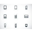 black mobile phone icons set vector image vector image