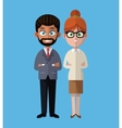 cartoon woman and man group team work office vector image vector image