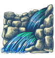 cascade waterfall in rocks vector image vector image