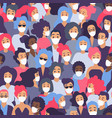 crowd people in medical protective face mask vector image vector image