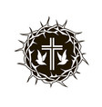 crown thorns cross and dove vector image vector image