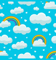 cute clouds on blue sky seamless pattern winter vector image