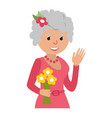 elderly woman with flowers icon vector image vector image