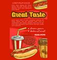 fast food hot dog sketch poster vector image vector image