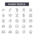 funny people line icons for web and mobile design vector image