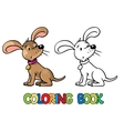 Funny puppy Coloring book vector image vector image