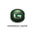 g 3d circle chrome letter logo icon design vector image