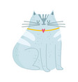 gray cat pet mascot cartoon isolated design white vector image vector image