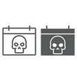 halloween calendar line and glyph icon vector image