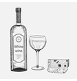 hand drawn set white wine elements vector image