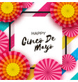 happy cinco de mayo greeting card orange paper vector image