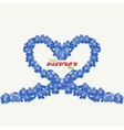 Heart of forget-me flowers with an inscription vector image vector image