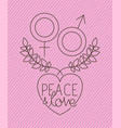 heart with genders symbols peace message vector image