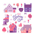 houses for spring town constructor set elements vector image