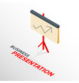 isometric board presentation icon with arrow vector image