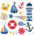 marine nautical set set vector image vector image